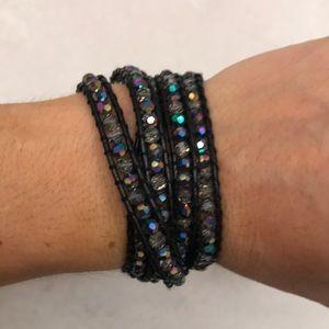 Iridescent and black wrap bead bracelet